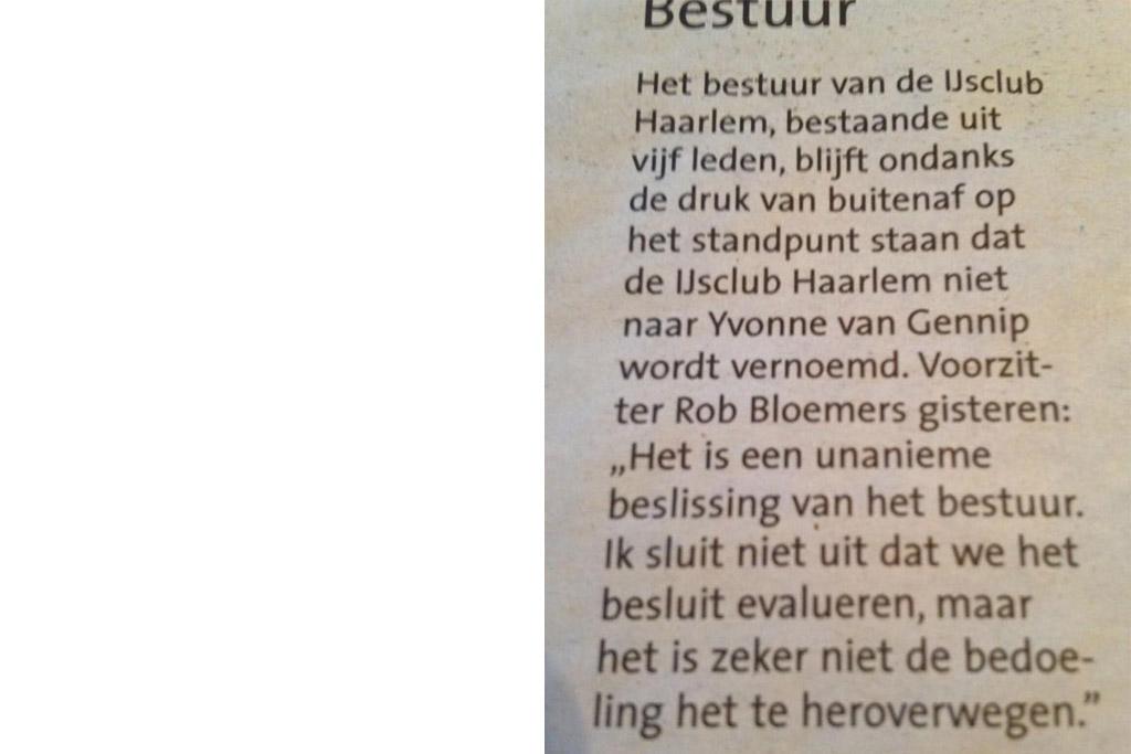 Onjuiste berichtgeving Haarlems Dagblad
